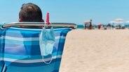 Ein Mann liegt auf einer Liege am Strand, an der Liege hängt eine Maske. © Colourbox Foto: nito