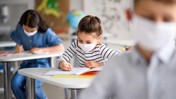 Children wear biodegradable masks in class.  © vivamask