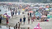 Viele Menschen an einem Strand. © picture alliance Foto: Carsten Rehder