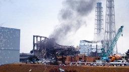 Das Kernkraftwerk Fukushima nach Bränden und Explosionen. © dpa Foto: Handout