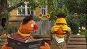 Ernie liest Bert ein Buch vor. Bert hält sich die Augen zu. © NDR/Sesame Workshop Foto: NDR