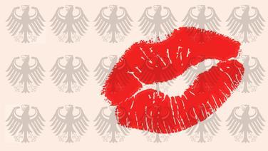 Ein Kussmund auf Papier mit einem Muster aus Deutschland-Adlern. (Montage) © Fotolia Fotograf: VRD, Sven Vietense