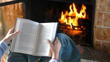Eine Person liest ein Buch vor dem Kaminfeuer © Fotolia Fotograf: Dario Airoldi