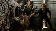 """Ein Mann starrt einen T-Rex an, dahinter steht starr eine Frau -  Filmszene aus """"Jurassic World - Das gefallene Königreich"""" © Universal Pictures Intl. Germany"""