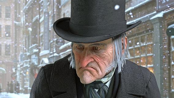 """Ebenezer Scrooge (Jim Carrey) in """"Disney's Eine Weihnachtsgeschichte"""" © ImageMovers Digital LLC."""