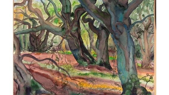 """Das Gemälder  """"Waldweg zwischen Buchen"""" von Günter Grass © Günter und Ute Grass Stiftung / Steidl Verlag"""