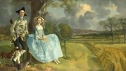 "Thomas Gainsboroughs Gemälde mit einem Ehepaar in einer grünen Laublandschaft: Robert und Frances Andrews (""Mr. und Mrs. Andrews""), um 1750, Öl auf Leinwand - Leihgabe aus London in der Hamburger Kunsthalle © © The National Gallery, London"