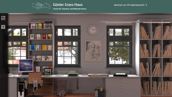 Bildschirmansicht des Online Grass Archivs am Günter Grass-Haus in Lübck