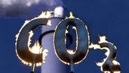 Montage - Brennende Buchstaben (CO2), dahinter ein Kraftwerksschornstein © dpa-Zentralbild, dpa-Report Foto: Uwe Anspach