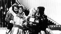 """""""Abba"""" gewinnt Grand Prix d' Eurovision 1974 in Brighton © A0001 UPI Foto: A0001 UPI"""