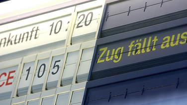 Anzeigetafel der Deutschen Bahn © dpa-Report Foto: David Ebener