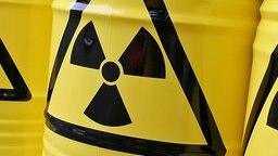 Gelbe Fässer mit aufgedrucktem Atom-Warnzeichen © dpa Foto: Tobias Hase