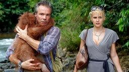 Alex hilft Julia dabei, einem Orang-Utan-Baby das Leben zu retten. © NDR Foto: ARD Degeto/Sandra Hoever