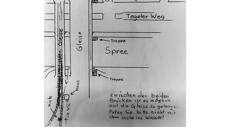 """Lage-Skizze des Kaufhauserpressers """"Dagobert"""" für eine Geldübergabe. © dpa"""