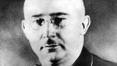 Portrait von Heinrich Himmler, Mann mit Nickelbrille und kleinem Oberlippenbärtchen.