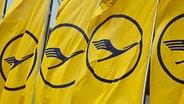 Fahnen mit Lufthansa-Logo © dpa Bildfunk Foto: Frank Rumpenhorst