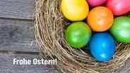 E-Card mit einem Nest mit bunten Ostereiern und dem Schriftzug Frohe Ostern. © fotolia.com Foto: gudrun