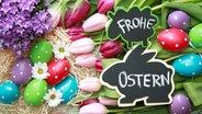 E-Card mit Frühlingsblumen, Ostereiern und dem Schriftzug Frohe Ostern. © fotolia.com Foto: ChristArt