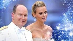 Bildmontage: Prinz Albert und Charlene Wittstock von einem Sternenstreif umrahmt. © picture alliance / dpa, fotolia Fotograf: Mousse-Nebinger-Orban, Israfil Sen