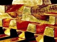 Ein Stapel Goldbarren © dpa Bildfunk Fotograf: Deutsche Bundesbank