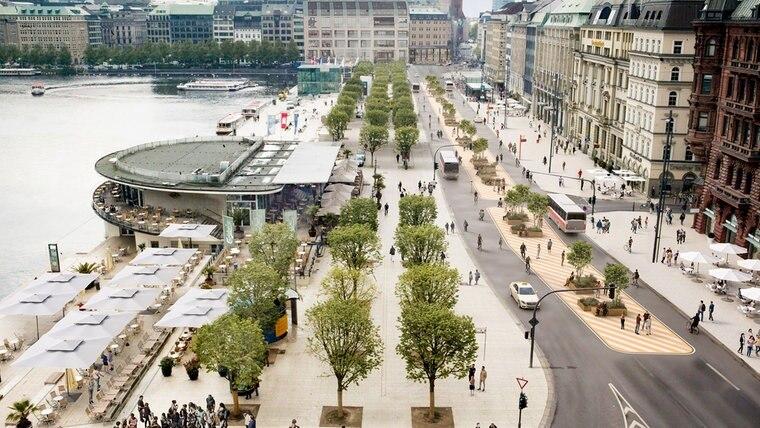 Eine Visualisierung zeigt ein Konzept für eine autofreie Innenstadt am Jungfernstieg in Hamburg. © Freie und Hansestadt Hamburg