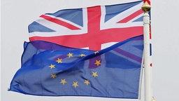 Die EU-Flagge und die Flagge von Großbritannien wehen nebeneinander. © DPA Foto: Niall Carson