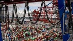 Container liegen zur Abfertigung am Containerterminal Tollerort im Hamburger Hafen. © picture alliance/dpa Fotograf: Axel Heimken