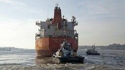 Ein Schlepper und ein Containerschiff auf der Hamburger Elbe. © picture alliance / imageBROKER Foto: Siegfried Kuttig