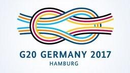 Das Logo des G20-Treffens in Hamburg im Juli 2017 zeigt einen Kreuzknoten.
