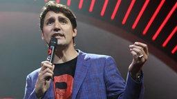 Der kanadische Premierminister Justin Trudeau spricht am 06.07.2017 in Hamburg beim ersten Global Citizen Festival-Konzert.  © dpa Bildfunk Fotograf: Georg Wendt