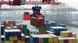 Ein großes Containerschiff wird auf dem Containerterminal Burchardkai der Hamburger Hafen und Logistik AG (HHLA) entladen. © dpa Fotograf: Angelika Warmuth