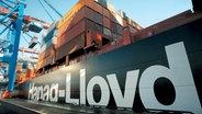 """Le porte-conteneurs """"Hamburg-Express"""" de la compagnie maritime Hapag-Lloyd est manutentionné dans un terminal. © photo alliance / dpa photo: Hapag-Lloyd"""