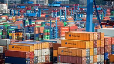 Viele Container stehen auf dem HHLA-Terminal Burchardkai im Hamburger Hafen. © dpa Fotograf: Christian Charisius