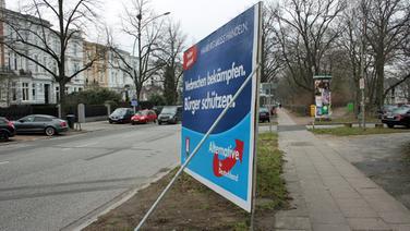 Ein Wahlplakat der AfD in Hamburg. © NDR Fotograf: Heiko Block
