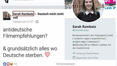 Umstrittener Facebook-Post von Sarah Rambatz © Screenshot Facebook