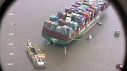 """Luftbild: Die havarierte """"CSCL Indian Ocean"""""""