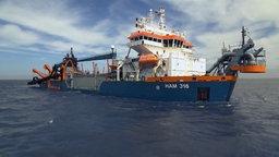 Ein Schiff zum Ausbaggern der Elbe