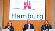 Cornelia Prüfer-Storcks (SPD, lr), sénatrice de Hambourg pour la santé, Peter Tschentscher (SPD), premier maire de Hambourg et Katharina Fegebank (Bündnis90 / Die Grünen), deuxième maire de Hambourg et sénatrice pour la science, fournissent des informations sur les dernières nouvelles lors d'une conférence de presse d'État à l'hôtel de ville Localisation due au virus corona à Hambourg. © photo alliance / photo dpa: Daniel Bockwoldt