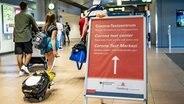 Reisende gehen aus dem Sicherheitsbereich des Hamburger Flughafens an einem Schild vorbei, auf dem die Richtung zum Corona-Testzentrum mit einem Pfeil angezeigt wird. © picture alliance/Axel Heimken/dpa Foto: Axel Heimken
