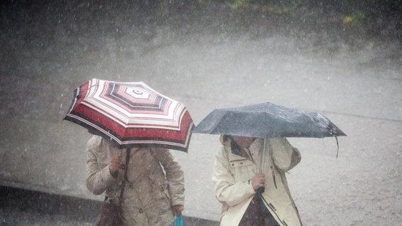 Zwei Menschen tragen Regenschirme  Foto: Daniel Reinhardt