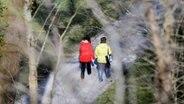 Zwei Frauen gehen auf einem Waldweg spazieren. © dpa picture alliance Foto: Frank May
