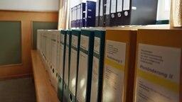 Eine Reihe Akten steht in einem Regal. © NDR Foto: Kersten Mügge
