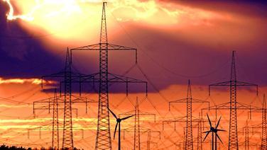 Strommasten vor Abendhimmel. © picture-alliance / ZB Foto: Patrick Pleul