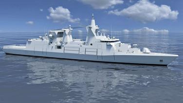 Schematische Darstellung des geplanten Mehrzweckkampfschiffs MKS 180. | MTG Marinetechnik GmbH
