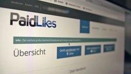 Screenshot der Firmen-Website von Paidlikes © NDR