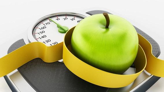 Ein grüner Apfel mit Maßband liegt auf einer Waage. © picture alliance Foto: Cigdem Simsek