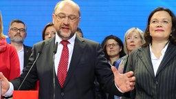 Martin Schulz spricht auf der Wahlparty der SPD am 24. September 2017 in Berlin © Kay Nietfeld / dpa Foto: Kay Nietfeld
