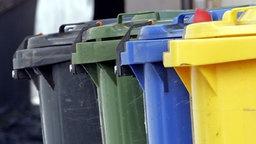 Farbige Mülltonnen zur Abfalltrennung © dpa Foto: Frank Rumpenhorst