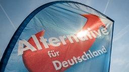 Während des Wahlkampfs zur Thüringer Landtagswahl 2014 in Jena (Thüringen) scheint die Sonne durch einen Aufsteller der Partei Alternative für Deutschland. © picture alliance / dpa Fotograf: Candy Welz