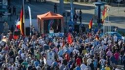 Die AfD-Bundesvorsitzende Frauke Petry spricht am 20.07.2016 in Rostock (Mecklenburg-Vorpommern) beim Wahlkampfauftakt der Alternative für Deutschland (AfD). © dpa Bildfunk Foto: Stefan Sauer